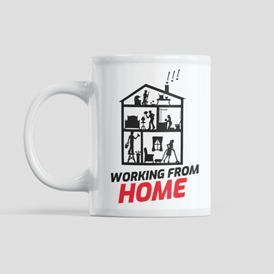 Personalised mug with a custom sublimation printed design with a working from home vector