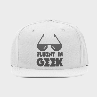 Custom printed white snapback cap with a personalised, embroidered image printed on the front.