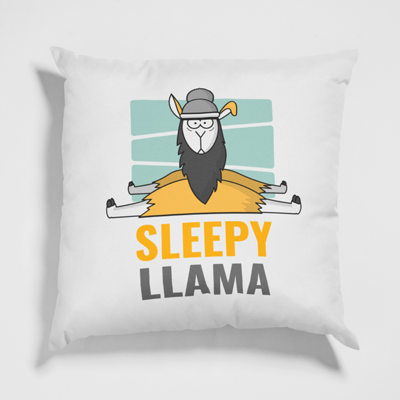 Personalised pillow with a custom printed sleepy llama design