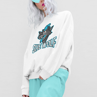 Woman with white hair and blue heart glasses wearing a custom and personalised sweatshirt with a personalised wolf t-shirt design on the front