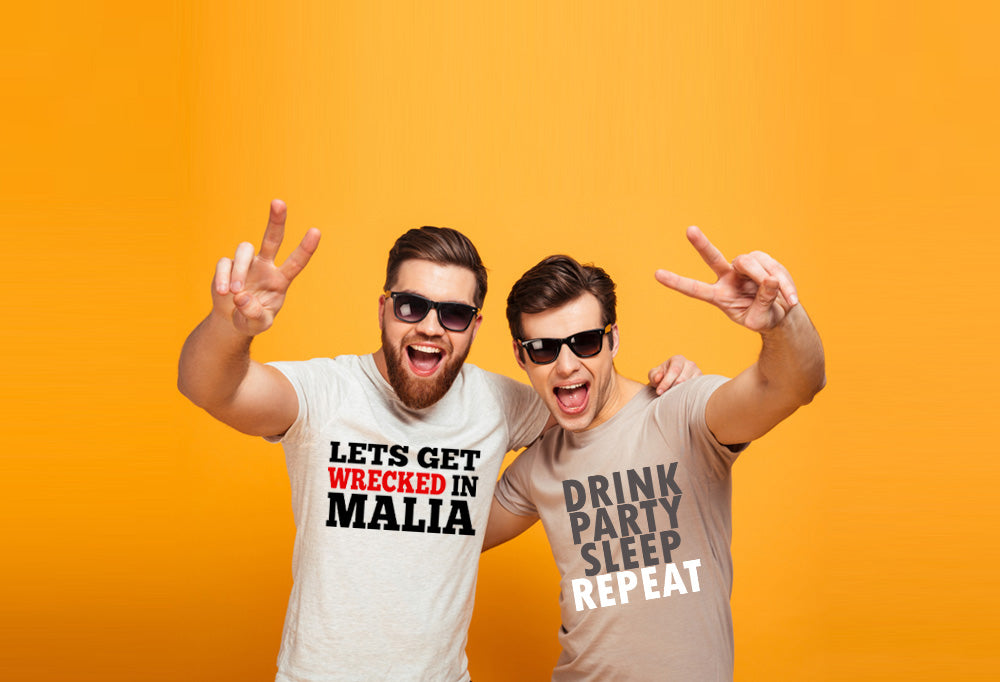 Two men wearing personalised stag party t-shirt and holiday t-shirts. Click here for all men's stag party custom t-shirt designs and holiday t-shirts.