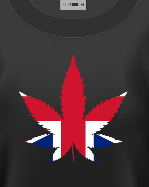 British Cannabis Leaf showing on a Black t-shirt