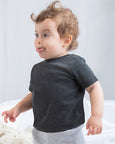 Baby boy wearing a plain dark grey baby t-shirt that you can personalise