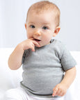 Baby boy wearing a plain grey baby t-shirt that you can personalise