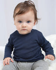 Baby boy modelling plain Navy long-sleeve baby t-shirt that you can personalise