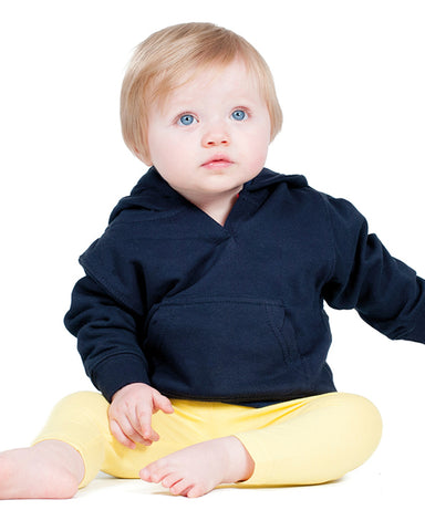 Baby modelling a navy baby hoodie that can be personalised with custom design