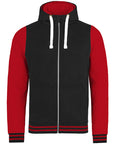Front of black and red Varsity Hoodie against a white background that you can personalise