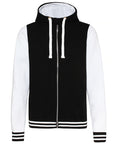 Front of black and white Varsity Hoodie against a white background that you can personalise