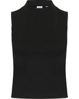 Front of black high neck crop top that can be personalised