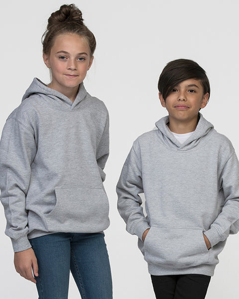 Young boy and girl modelling a kid's grey hoodie that you can personalise with custom design