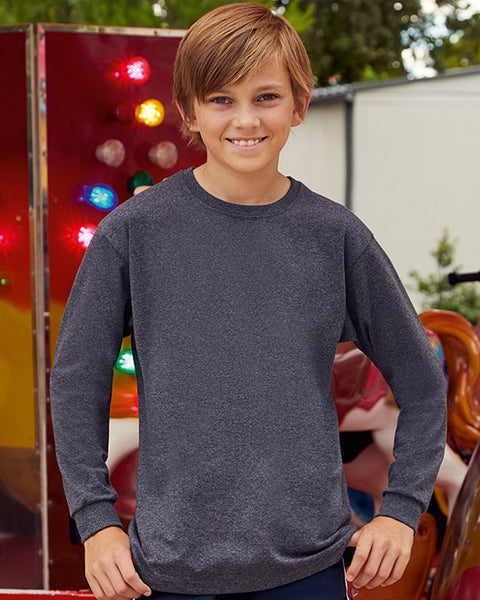 Young boy with short brown hair modelling plain dark grey long-sleeve t-shirt you can personalise