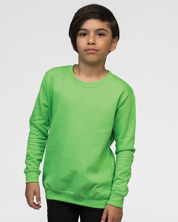 Young boy with black hair modelling a lime green, kids sweatshirt you can personalise with custom print