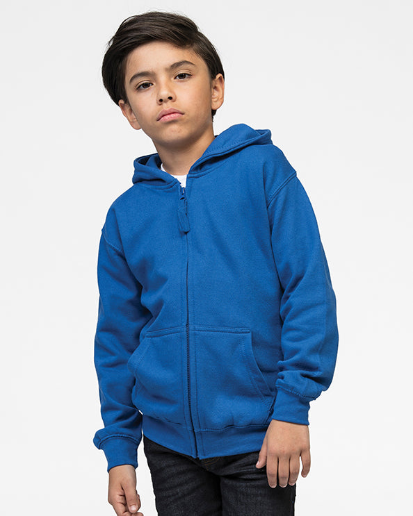 Young boy with black hair modelling kid's blue zip hoodie that you can personalise with custom print