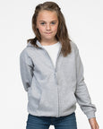 Young girl with long brown hair modelling kid's grey zip hoodie that you can personalise with custom print