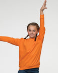 Young girl with brown hair modelling an orange, kids sweatshirt you can personalise with custom print