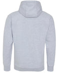 Back of adults plain grey hoodie which you can add your own design to against a plain white background