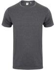 Front of a men's dark grey fitted t-shirt that you can personalise