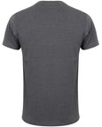 Back of a men's dark grey fitted t-shirt that you can personalise
