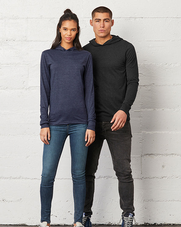 Man modelling plain black t-shirt hoodie and woman modelling plain blue t-shirt hoodie that you can personalise with custom design