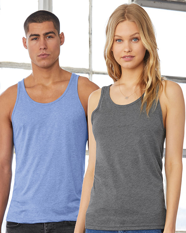 Man modelling plain blue vest and woman modelling plain grey vest that you can personalise with custom design