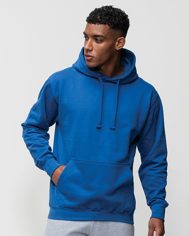 Black man with short black hair modelling a plain blue hoodie on which you can add your on design