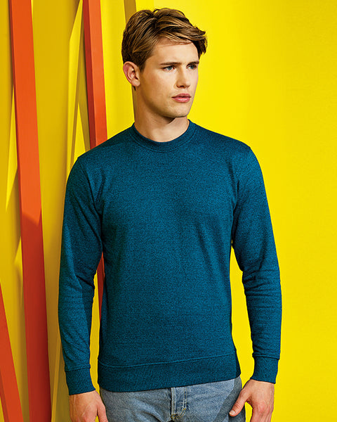 Man with short brown hair modelling a plain blue sweatshirt for custom print