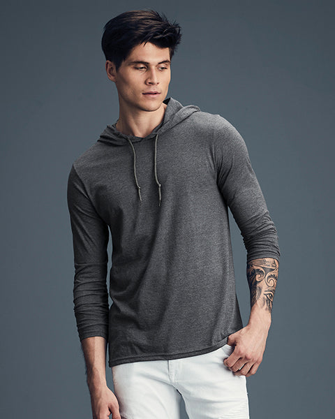 Man with short dark hair modelling a plain dark grey t-shirt hoodie for custom print