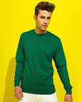 Man with short brown hair modelling a plain green sweatshirt for custom print against yellow background