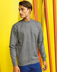 Man with short brown hair modelling a plain grey sweatshirt for custom print