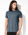 Man with long dark hair modelling a plain a plain grey t-shirt for custom print