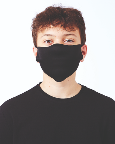 Man wearing a blank black face mask  (ppe) which you can personalise and add a custom design and artwork
