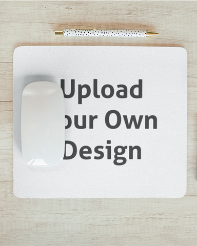 White mouse pad with an upload your own design logo that you can personalise