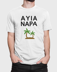 Man modelling a Ayia Napa Slogan With Palm Trees T-Shirt Design On a White T-Shirt