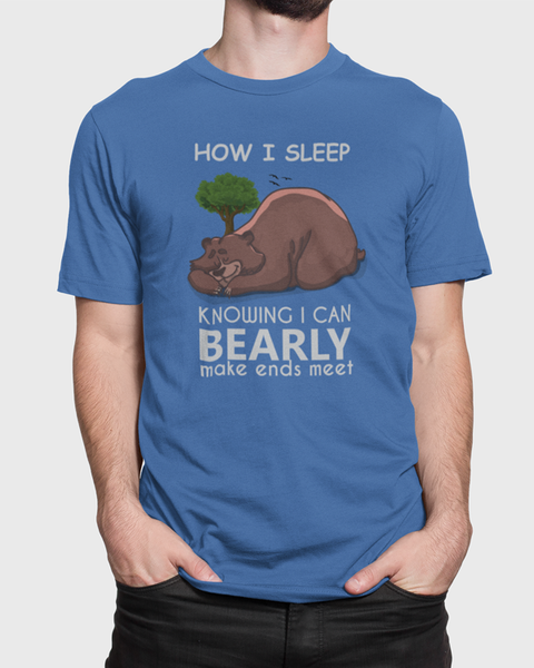 Man wearing a blue t-shirt with a sleeping bear