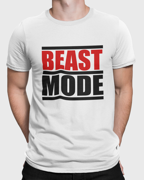 Man modelling a Beast Mode Gym T-Shirt Design On a White T-Shirt