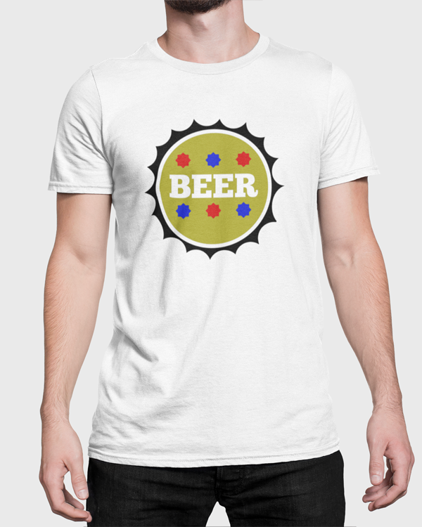 Man Modelling a white t-shirt with a Beer Top T-Shirt Design