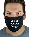 Man wearing a black personalised Face mask with a custom design and upload your own design