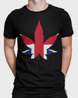 Man modelling a black t-shirt with British Cannabis Leaf showing on a Black t-shirt