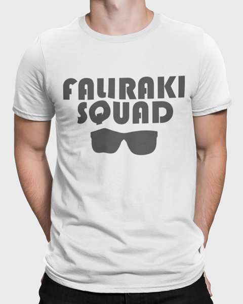 Man wearing a white t-shirt with Faliraki Squad t-shirt design and sunglasses