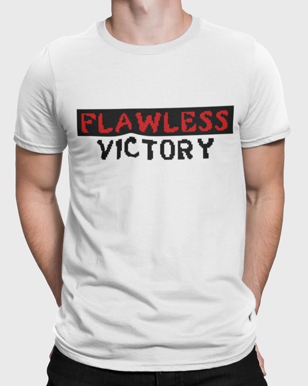 Man modelling a White t-shirt with a Flawless Victory slogan