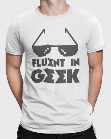 Man wearing Fluent in Geek t-shirt design