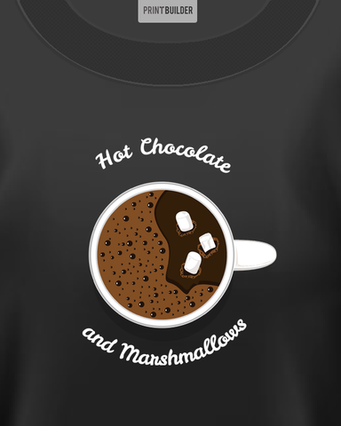 Woman wearing black t-shirt with hot chocolate and marshmallow t-shirt design