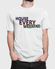 Man wearing with t-shirt design saying House Every Weekend on a white t-shirt