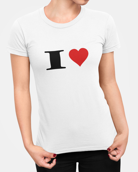 Woman modelling a white t-shirt with a I Heart t-shirt design