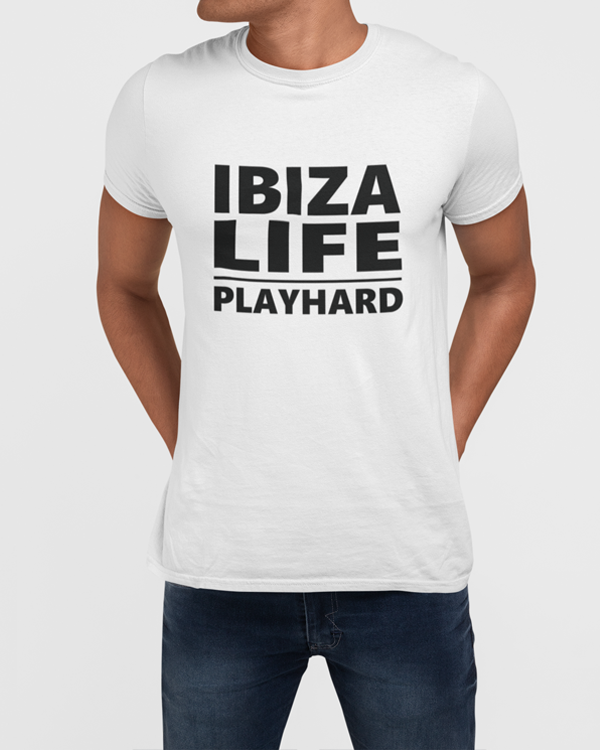Man modelling a white holiday Ibiza Life Play Hard Slogan T-Shirt Design On a White T-Shirt