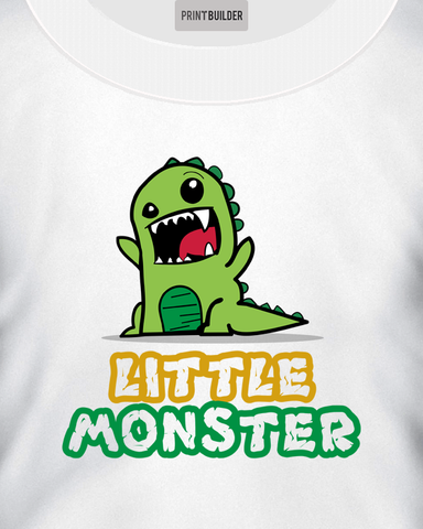 Young boy modelling a Kid's white t-shirt with a Little Monster t-shirt design