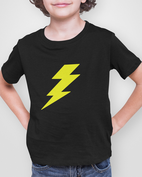 Young boy modelling a yellow lightning bolt t-shirt design on a black t-shirt