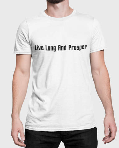 Man wearing a t-shirt with Live Long and Prosper t-shirt design