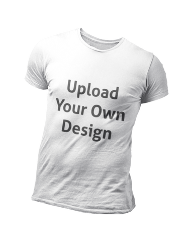 Plain white t-shirt for personalisation with upload your own design text