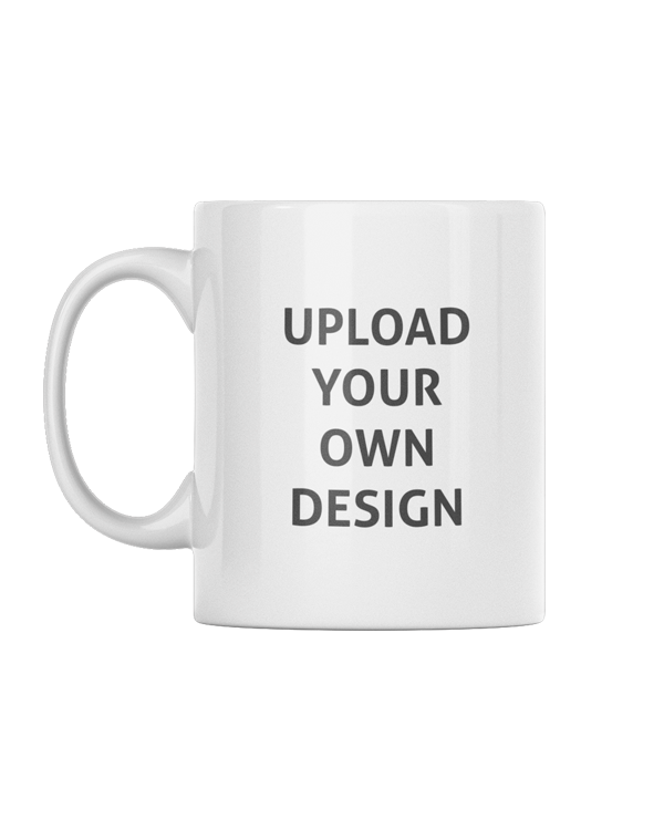 Plain white mug with the words